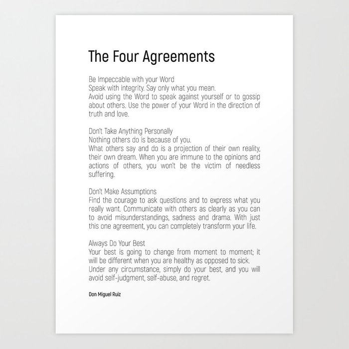 photo relating to The Four Agreements Printable titled The 4 Agreements #blackwhite #minimalism Artwork Print by means of andreaanderegg