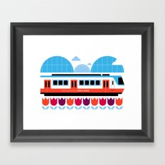 Postcards from Amsterdam / Train and Tulips Framed Art Print