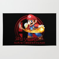 smash bros Area & Throw Rugs featuring Mario - Super Smash Bros. by Donkey Inferno