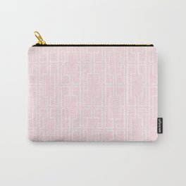 Simply Mid-Century White on Flamingo Pink Carry-All Pouch