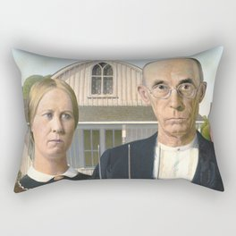 Grant Wood, American Gothic 1930 Artwork for Wall Art, Prints, Posters, Tshirts, Men, Women, Youth Rectangular Pillow