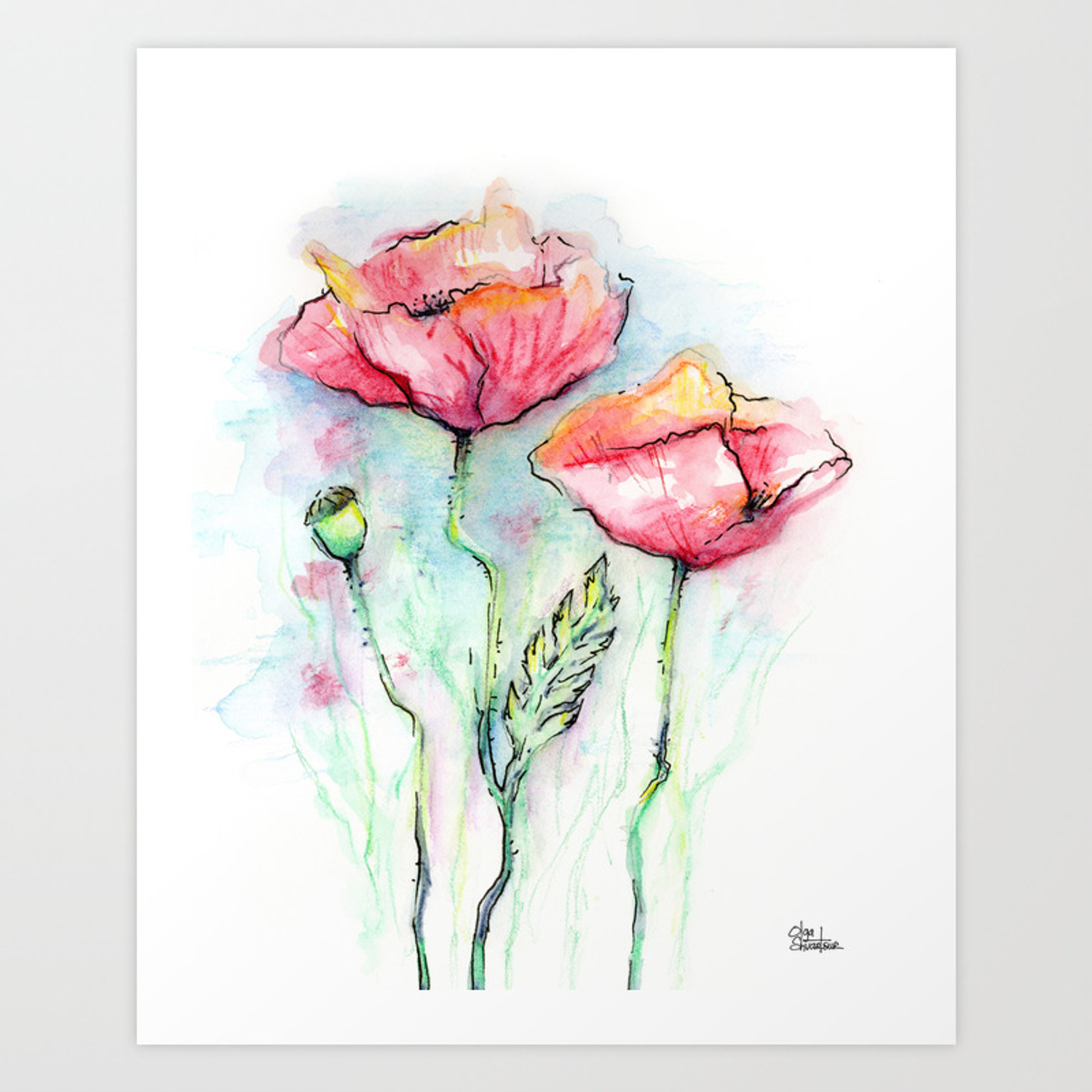 Poppies Watercolor Sketch Red Flowers Art Print By Olechka Society6