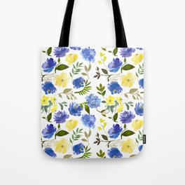 Scattered Blue and Yellow Blossom And Hydrangea on Gray    Tote Bag