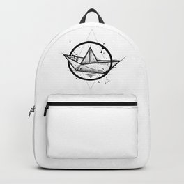 Paper Boat Handmade Drawing, Made in pencil and ink, Tattoo Sketch, Tattoo Flash, Blackwork Backpack