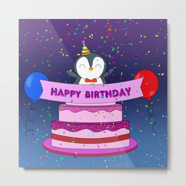 Penguin Surprise Birthday Metal Print