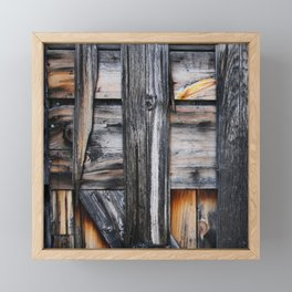 Rustic vintage distressed western country farm woodgrain brown grey barn door Framed Mini Art Print