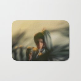 Blurred woman, dancer with plants, shadows, forest Bath Mat