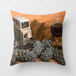 Bell and Howell with Black Grapes Throw Pillow