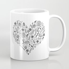 Floral Alphabet // Heart Coffee Mug