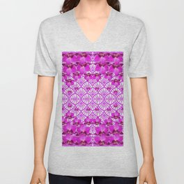 ABSTRACT PATTERNED PURPLE ART DECO  ORCHIDS Unisex V-Neck