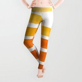 Orange Yellow Ocre Midcentury Modern Minimalist Staggered Stripes Rectangle Geometric Pattern Waterc Leggings
