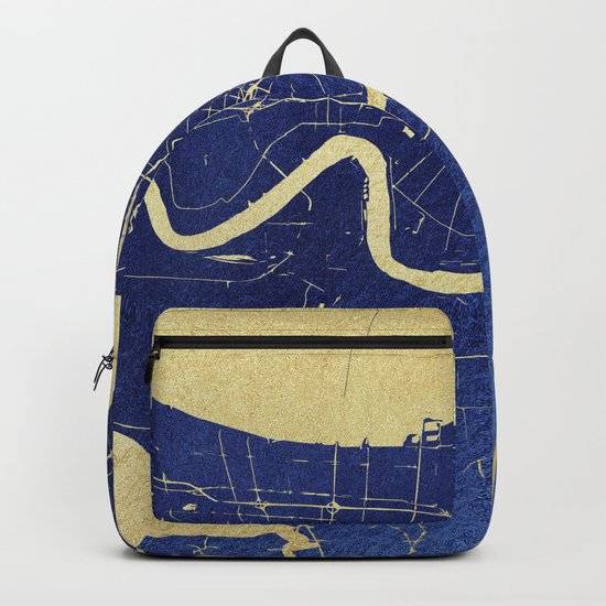 New Orleans Blue and Gold Map Backpack