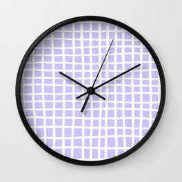 Hand-drawn White Lines on Lavender Wall Clock