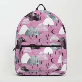 Mountain Landscape Forest Moon Night Hills Pink Watercolor Backpack