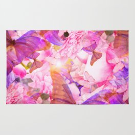 A Summer Dream Where Pink And Violet Butterflies Flying #decor #society6 #pivivikstrm Rug