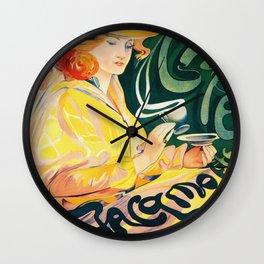 Vintage Art Nouveau Cafe Ad Wall Clock