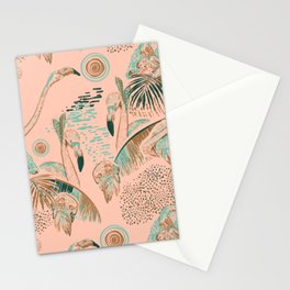 Flamingos in linocut look Stationery Cards