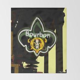 New Orleans Bourbon Street Bar Throw Blanket