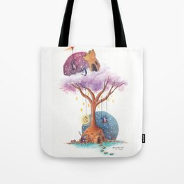 Penguins and Their Dream Tree with Castle Above and Igloo Below Tote Bag
