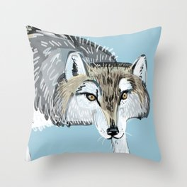 Totem Hokkaido grey wolf (Blue) Throw Pillow