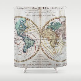 Vintage Map of The World (1760) Shower Curtain