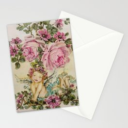 Sweet Cherub and Pink Roses Painting Stationery Cards