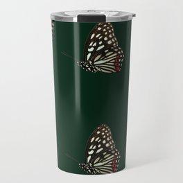 Forest Green Butterfly Print Travel Mug