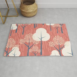Rainforest Abstract Geometric Trees Nature in Coral and Blue Rug