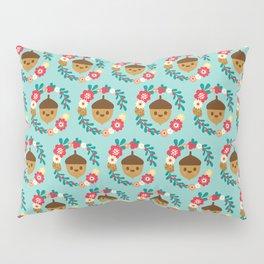 Acorn and Flowers Pattern Design / Blue Pillow Sham