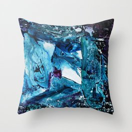 Faces in blue Throw Pillow