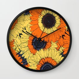 Abstracted Orange Yellow Deco Sunflowers Wall Clock