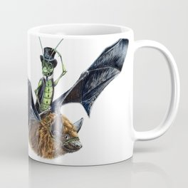 """ Rider in the Night "" happy cricket rides his pet bat Coffee Mug"