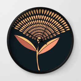 Mid Century Modern Dandelion Seed Head In Coral and Pink Wall Clock