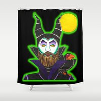maleficent Shower Curtains featuring MALEficent by Travis Butchart