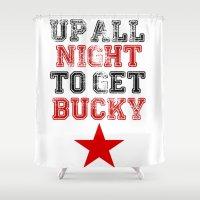 bucky Shower Curtains featuring Up All Night Bucky Barnes by BethTheKilljoy