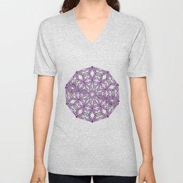 Mandala purple and black Unisex V-Neck