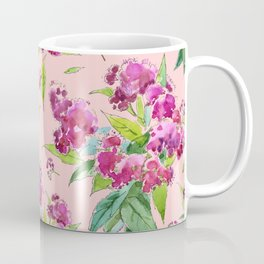 Pattern with pink flowers and leaves (Spiraea) Coffee Mug