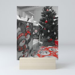 Christmas black and white, red select Mini Art Print