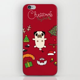Christmas Pug Doll iPhone Skin