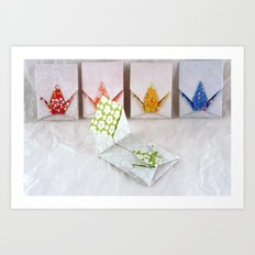 Origami Peace Crane Envelopes Art Print