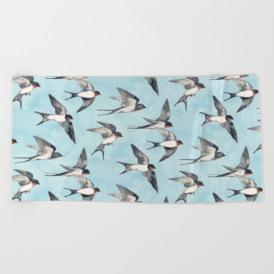 Blue Sky Swallow Flight Beach Towel