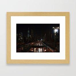 New York City Nightscape from Brooklyn Bridge. Framed Art Print