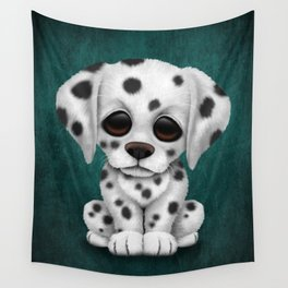 Cute Dalmatian Puppy Dog on Blue Wall Tapestry