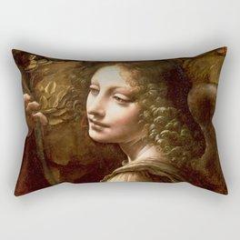 "Leonardo da Vinci Angel in ""The Virgin of the Rocks (London)"" Rectangular Pillow"