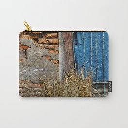 OLD BRICK WALL AND BLUE TARP WINDOW BHAKTAPUR NEPAL Carry-All Pouch