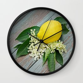 Fresh lemon and elderflower Wall Clock
