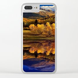 Yellow aspen trees reflection on blue lake photograph Clear iPhone Case
