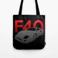 ferrari Tote Bags featuring Ferrari F40 by Vehicle