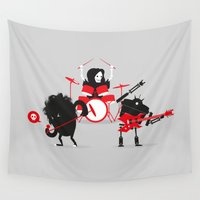 drums Wall Tapestries featuring Monsters of Metal by DWatson