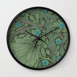 William Morris Art Nouveau Forget Me Not Floral Wall Clock